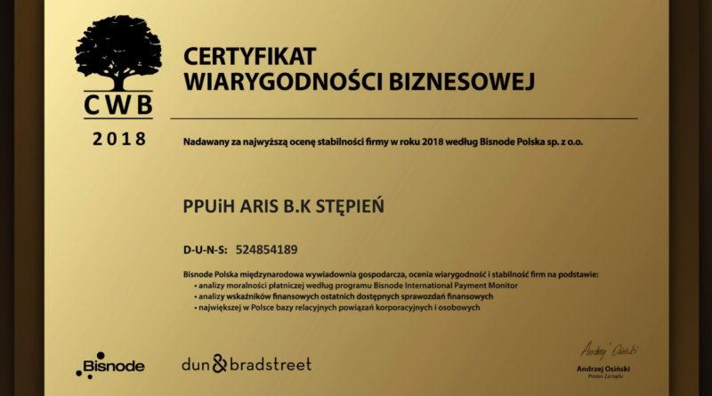 Certyfikat Wiarygodności Biznesowej BISNODE POLSKA